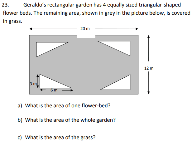 Area and Perimeter, Triangle, Rectangle and Word Problems