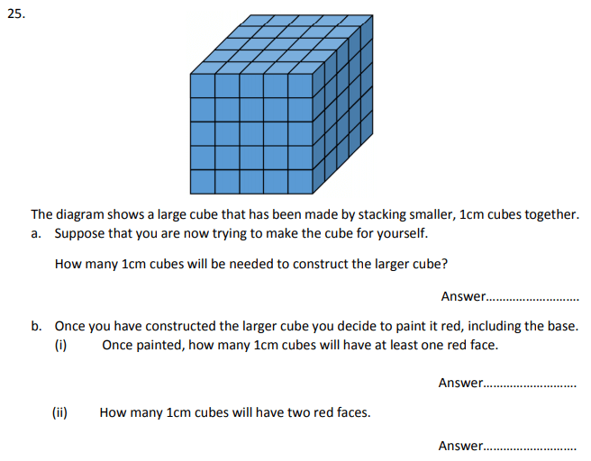 Cubes and Cuboids Questions Collected From 11+ papers