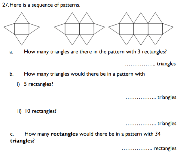 Algebra, Linear equations, Patterns and Sequences