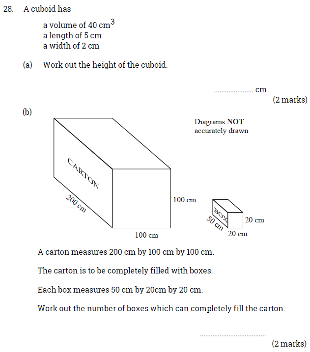 Volume, Cubes and Cuboids and Word Problems