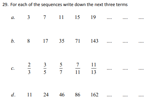 Numbers, fractions, Number Patterns and Sequences
