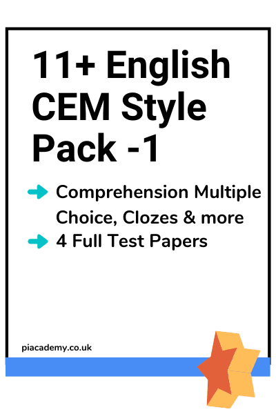 11 Plus CEM English Papers Pack 1 with answers