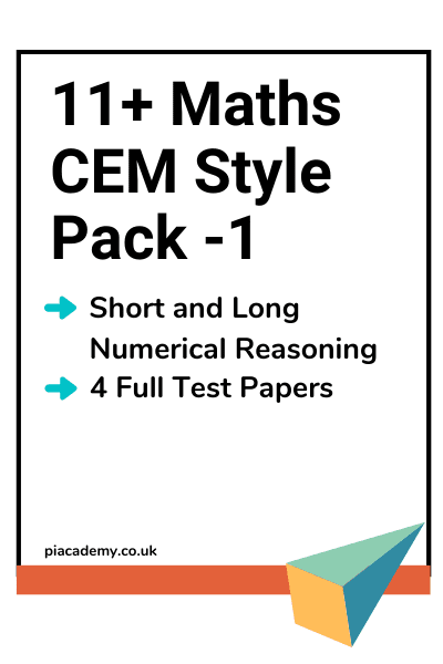 11 Plus CEM Maths Papers Pack 1 with answers