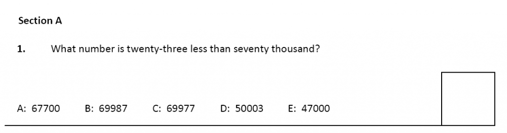 11 plus Latymer Upper School Maths Sample Paper 2 - 2020 Question 01