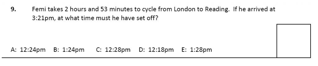 11 plus Latymer Upper School Maths Sample Paper 2 - 2020 Question 09