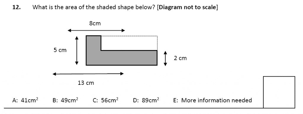 11 plus Latymer Upper School Maths Sample Paper 2 - 2020 Question 12