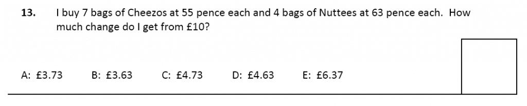 11 plus Latymer Upper School Maths Sample Paper 2 - 2020 Question 13