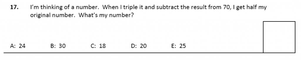 11 plus Latymer Upper School Maths Sample Paper 2 - 2020 Question 17