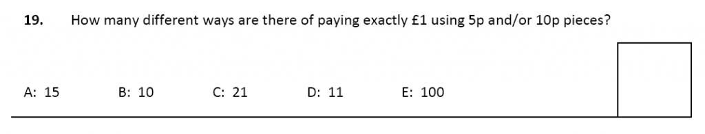 11 plus Latymer Upper School Maths Sample Paper 2 - 2020 Question 19