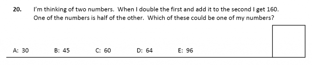 11 plus Latymer Upper School Maths Sample Paper 2 - 2020 Question 20