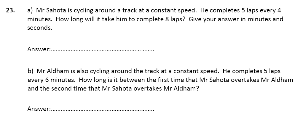 Speed Distance Time Questions Collected From 11+ papers