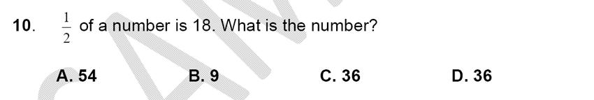 Alleyn's School - 9 Plus Maths Sample Paper Question 10