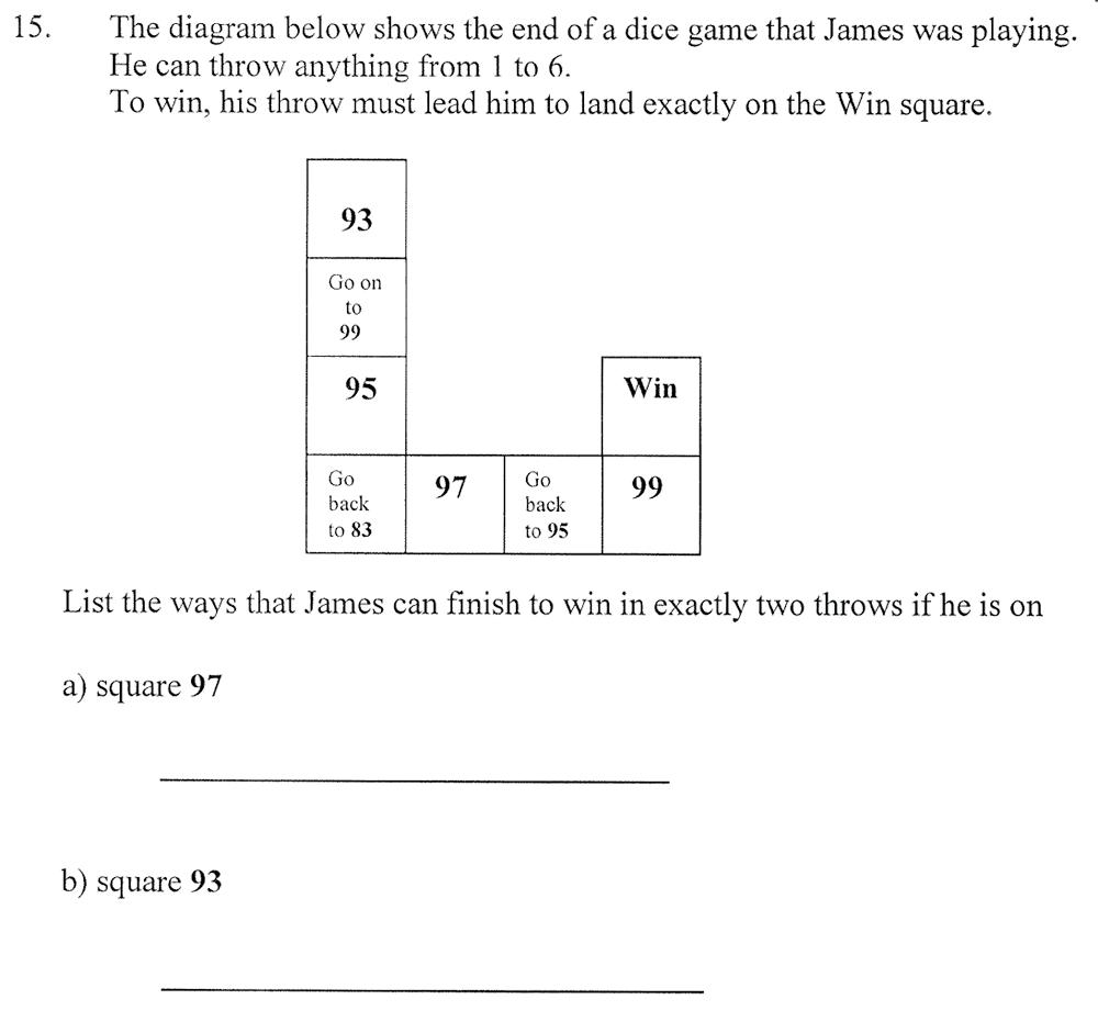 City of London School - 10 Plus Maths Practice Paper Question 20