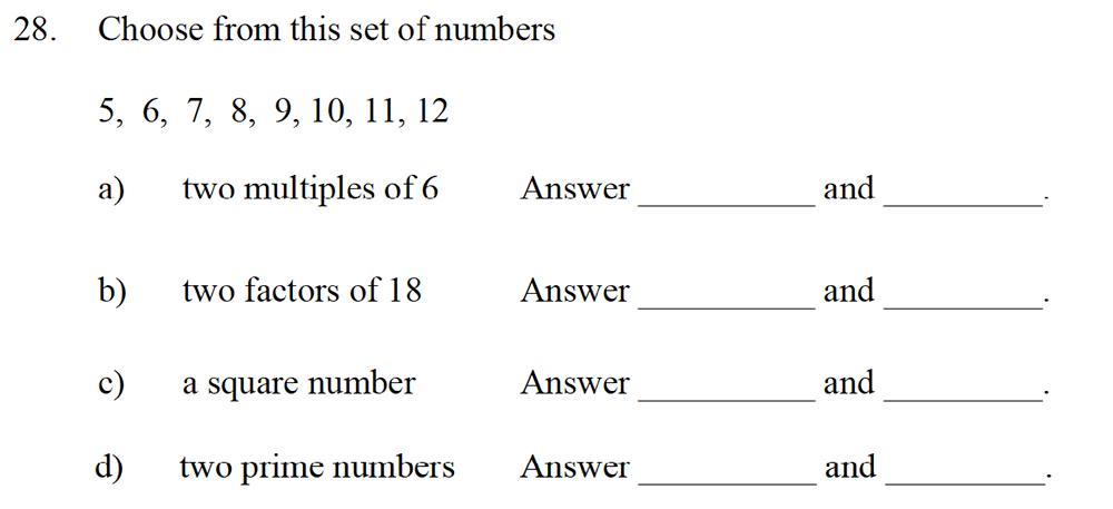 Emanuel School - 10 Plus Maths Entrance Exam Paper Question 30