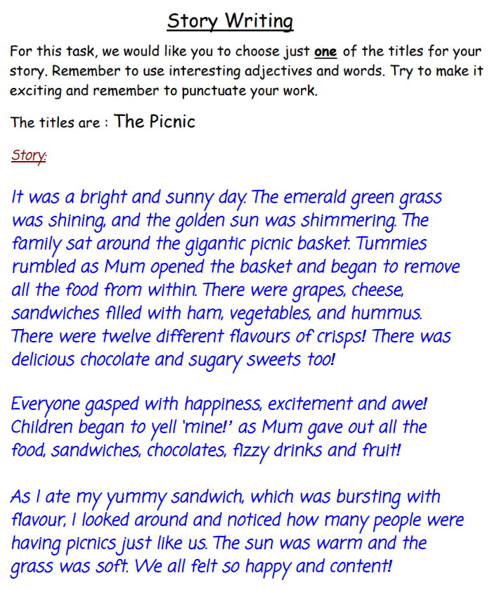 Haberdashers Askes Boys School (HABS) - 7 Plus English Creative Writing Answer 01