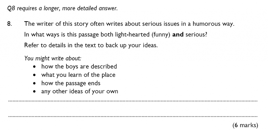 King's College School - 10 Plus English Reading Specimen Paper 2015 Question 08