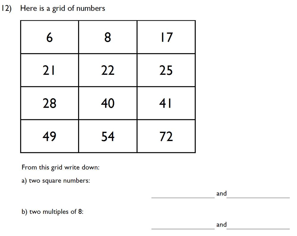 King's College School - 10 Plus Maths Specimen Paper Group D Question 12