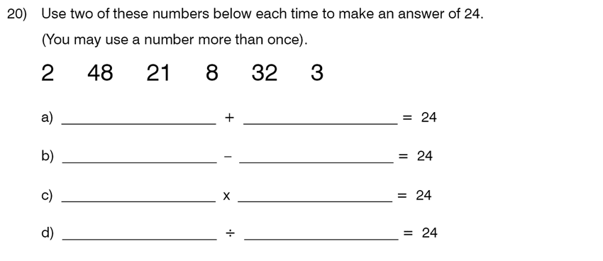 King's College School - 8 Plus Maths Specimen Paper Question 20