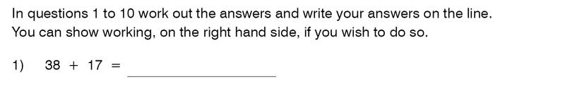 King's College School - 9 Plus Maths Practice Paper 2014 Question 01