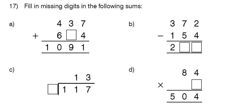 King's College School - 9 Plus Maths Practice Paper 2014 Question 17