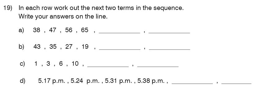 King's College School - 9 Plus Maths Practice Paper 2014 Question 19