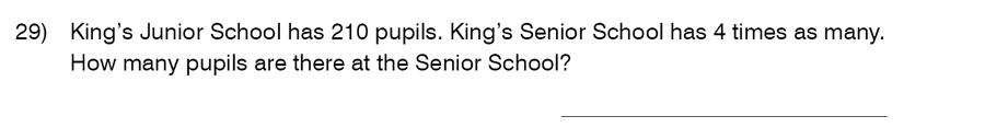 King's College School - 9 Plus Maths Practice Paper 2014 Question 29