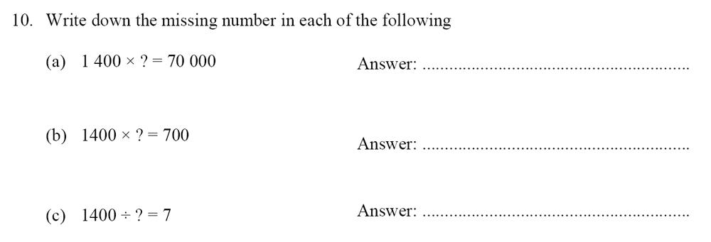 Oundle School - 10 Plus Maths Entrance Exam Paper 2014 Question 11