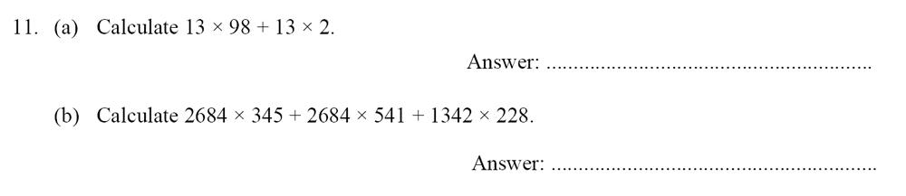 Oundle School - 10 Plus Maths Entrance Exam Paper 2014 Question 12
