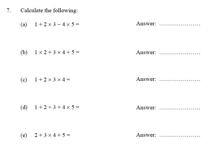 Oundle School - 9 Plus Maths Practice Paper 2012 Question 07