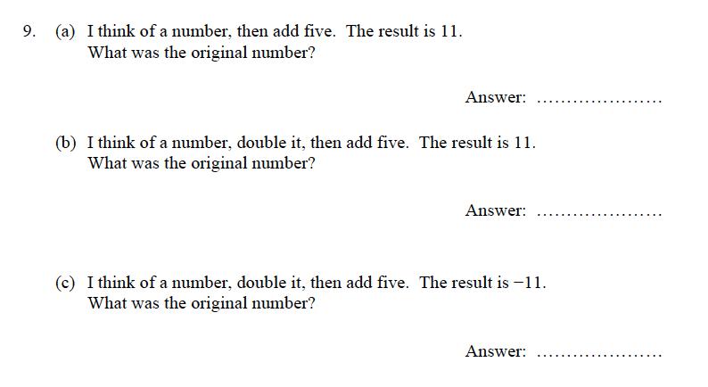 Oundle School - 9 Plus Maths Practice Paper 2012 Question 09
