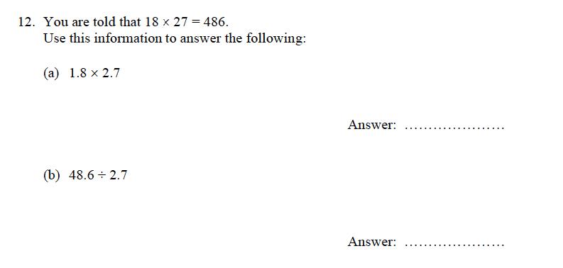 Oundle School - 9 Plus Maths Practice Paper 2012 Question 12