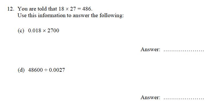Oundle School - 9 Plus Maths Practice Paper 2012 Question 13