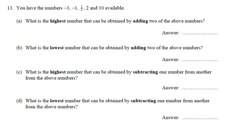 Oundle School - 9 Plus Maths Practice Paper 2012 Question 14