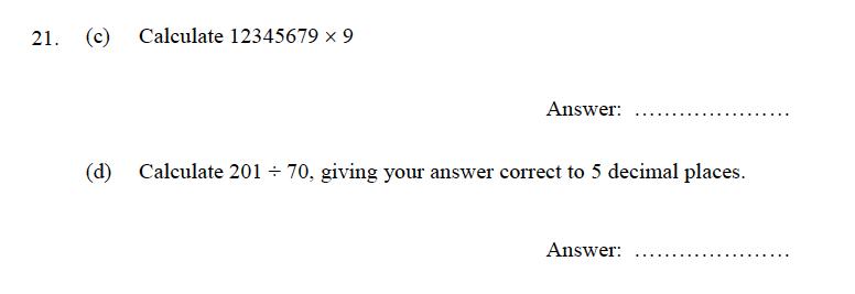 Oundle School - 9 Plus Maths Practice Paper 2012 Question 29