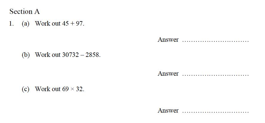 Oundle School - 9 Plus Maths Practice Paper 2014 Question 01