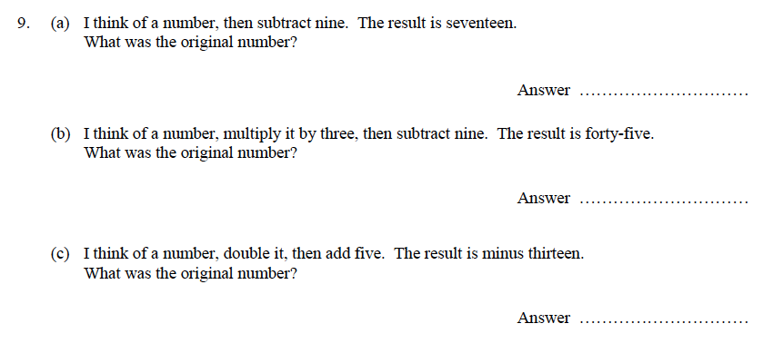 Oundle School - 9 Plus Maths Practice Paper 2014 Question 13