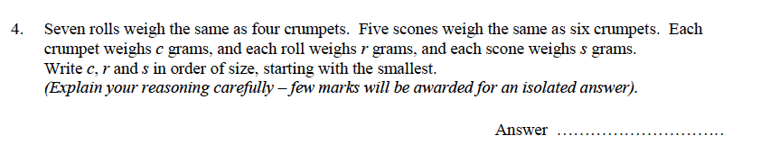 Oundle School - 9 Plus Maths Practice Paper 2014 Question 28