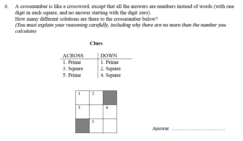 Oundle School - 9 Plus Maths Practice Paper 2014 Question 31