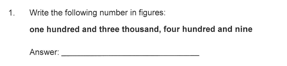 Solihull School - 10 Plus Maths Sample Paper 1 Question 01