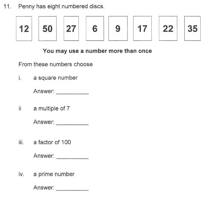 Solihull School - 10 Plus Maths Sample Paper 1 Question 18