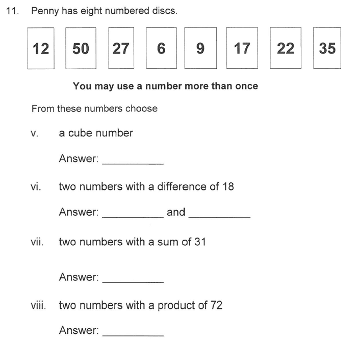 Solihull School - 10 Plus Maths Sample Paper 1 Question 19