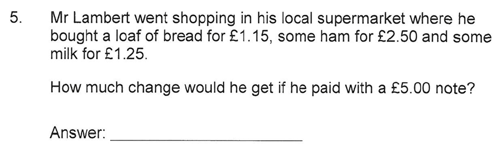 Solihull School - 10 Plus Maths Sample Paper 2 Question 05