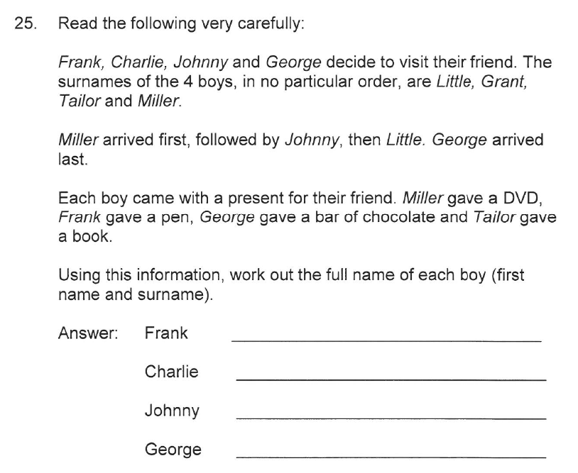 Solihull School - 10 Plus Maths Sample Paper 2 Question 28