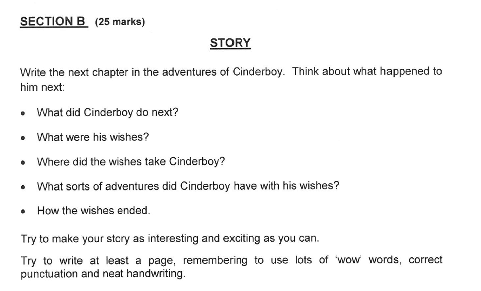 Solihull School - 8 Plus English Sample Paper 2 Creative Writing Question 01