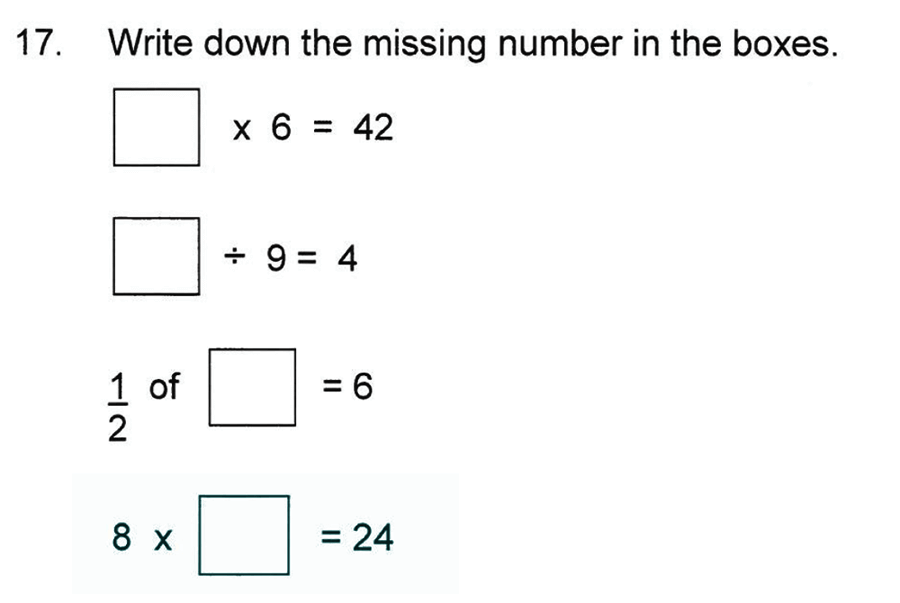 Solihull School - 8 Plus Maths Practice Paper 1 Question 17