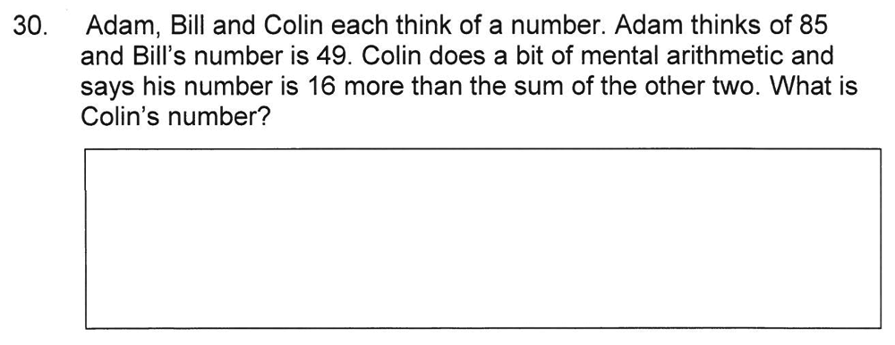 Solihull School - 8 Plus Maths Practice Paper 1 Question 30