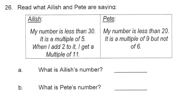 Solihull School - 9 Plus Maths Sample Paper 1 Question 30