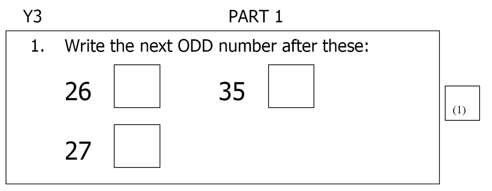 St Mary's School, Cambridge - Year 3 Maths Sample Test Paper Question 01