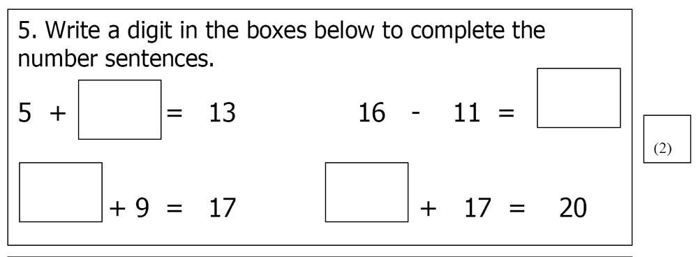 St Mary's School, Cambridge - Year 3 Maths Sample Test Paper Question 05