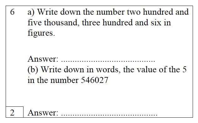 Trinity School - 10 Plus Maths Practice Paper Question 06